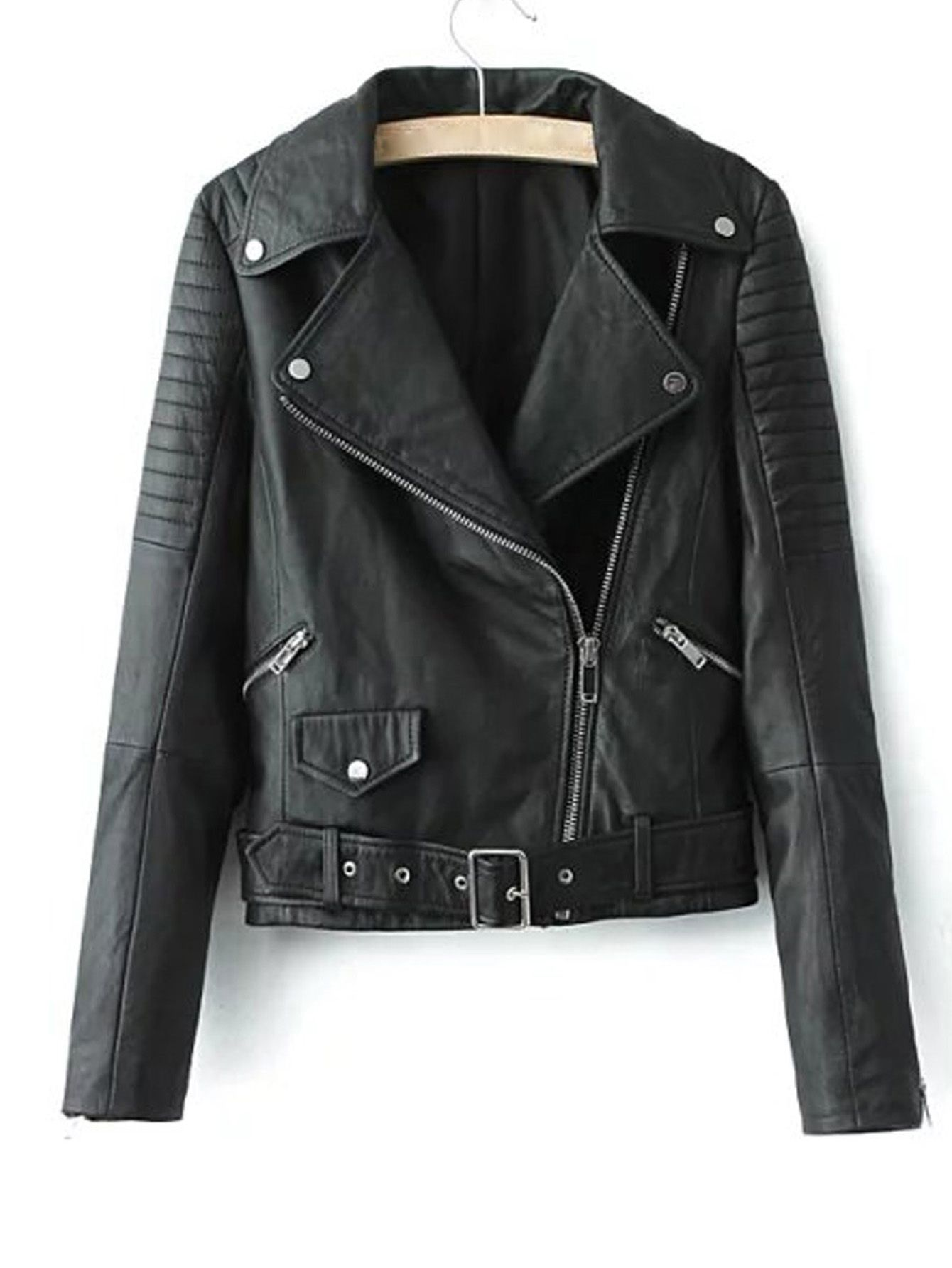 Shop Black Lapel Oblique Zipper Crop PU Jacket online