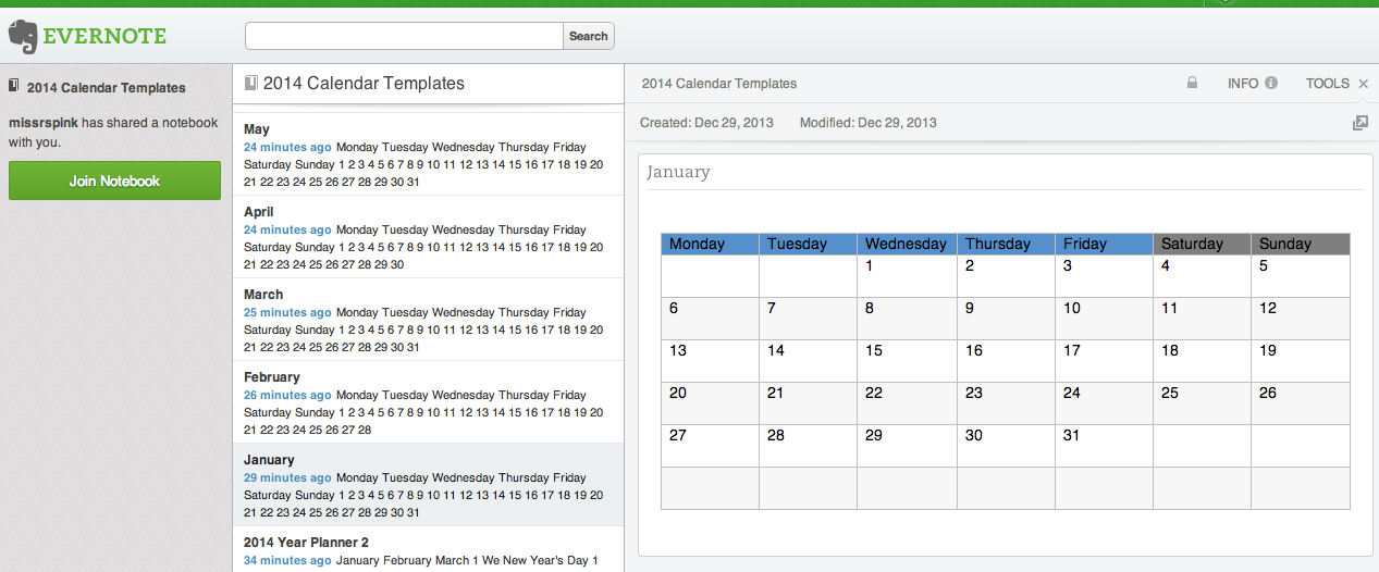 Evernote Calendar Templates  Classroom Multimedia