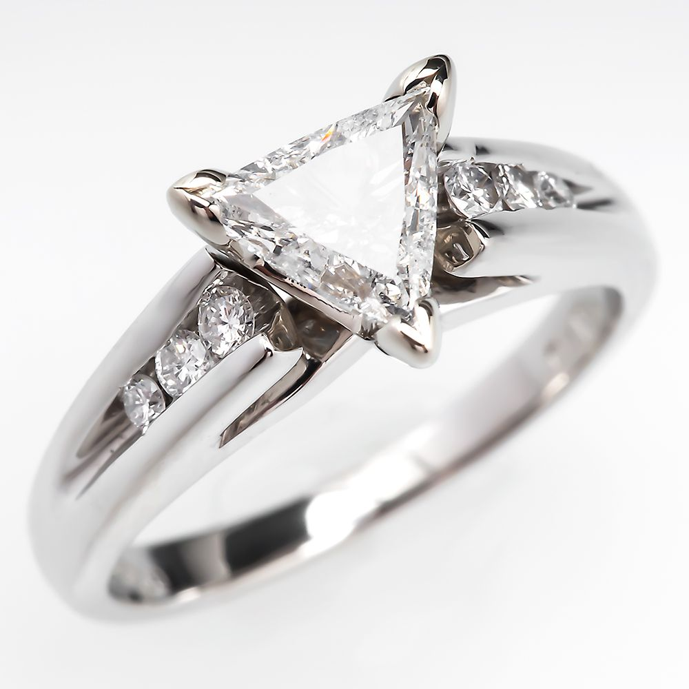 enr white flanked a princess trilliant in cut diamond by pave yellow triangular ring fancy engagement three rings stone