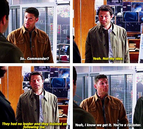 "[gifset] 9x21 King Of The Damned [Cas being referred to as Commander reminds me of the ""The End"" from s5. Because in that universe Dean was the Fearless Leader (aka the one in charge) and obviously his second in command was Cas, with Risa being a third...]"