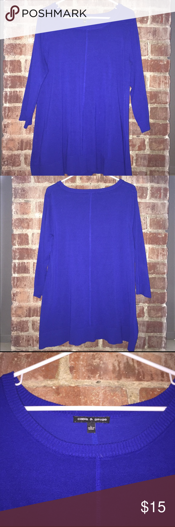 Cable & Gauge tunic sweater - royal blue Long, mid-weight sweater.  Perfectly paired with leggings and tall boots.  Beautiful color. Soft cotton blend fabric. Lightly used, great condition! Cable & Gauge Sweaters