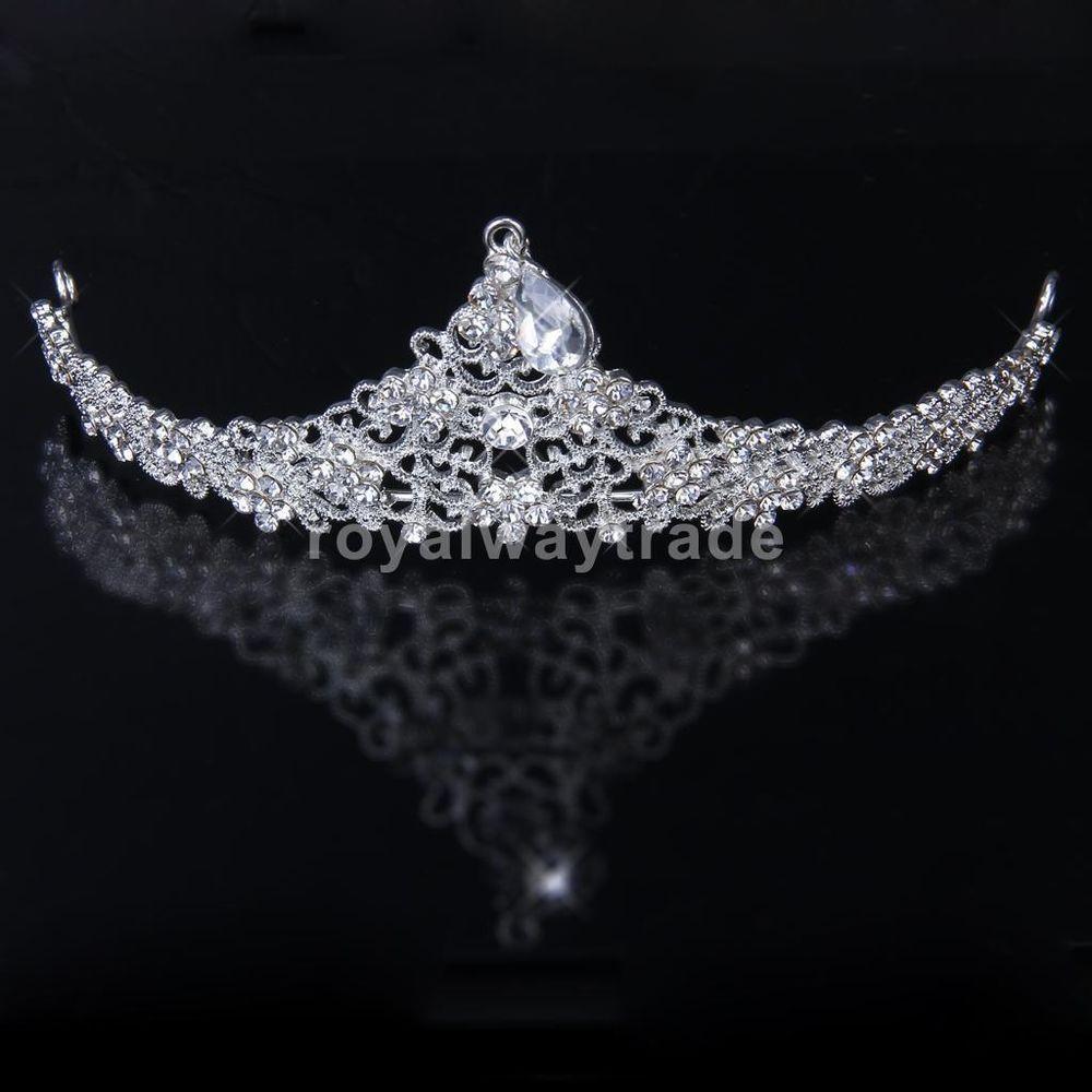 Crystal Flower Rhinestone Hair Veil Tiara Crown Headband Wedding Bridal Prom #Tiara