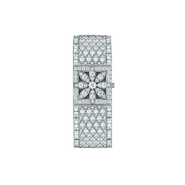 Floral diamond cocktail watch (€178.375) ❤ liked on Polyvore featuring jewelry, watches, bracelets, relogios, floral watches, tiffany co watches, tiffany co jewelry, flower jewelry and flower watches