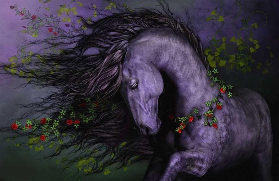 Beautiful black fantasy horse flowing mane quality canvas print a2 beautiful black fantasy horse flowing mane quality canvas print a2 voltagebd Images