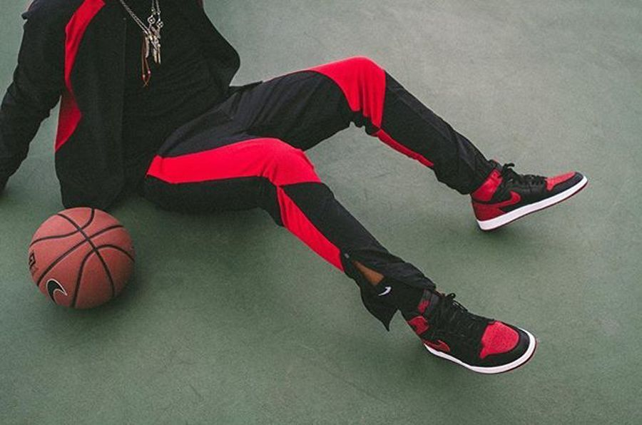 more photos e4764 51f55 Air Jordan Retro Bred Black Red Banned 1 Wings Track Jump Flight Suit Satin  XL