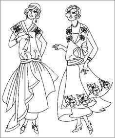 vintage dress coloring pages | vintage fashion style 1800's to 1900's coloring pages ...