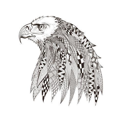 White Eagle Coloring Page For Teens And Adults Large Black Purse Purse Ladies Top Designer Han Animal Coloring Pages Mandala Coloring Pages Animal Doodles