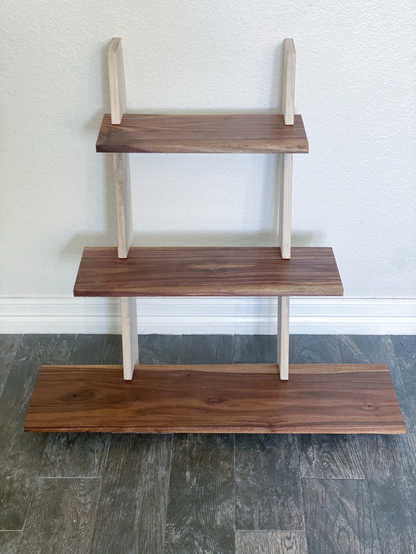 Walnut Plant Display Stand, Shelving Unit, Plant Stand, Dorm Decor