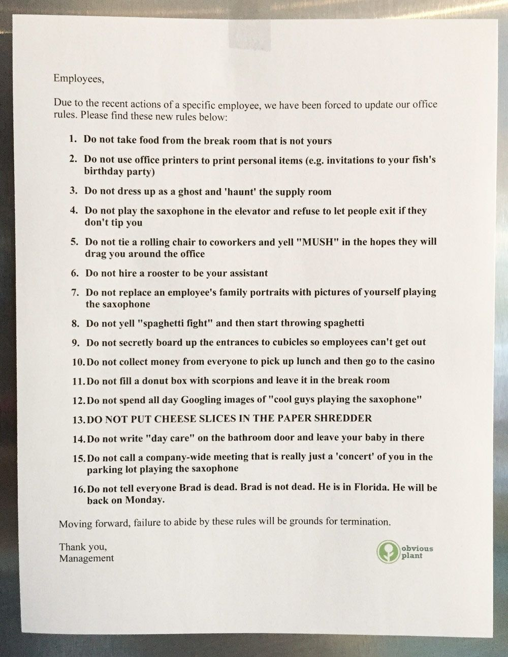 I Left Some New Office Rules In The Break Room Of An Don