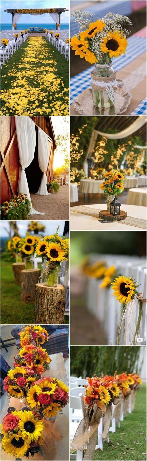 23 Bright Sunflower Wedding Decoration Ideas For Your Rustic Wedding Bryllup og Casamento