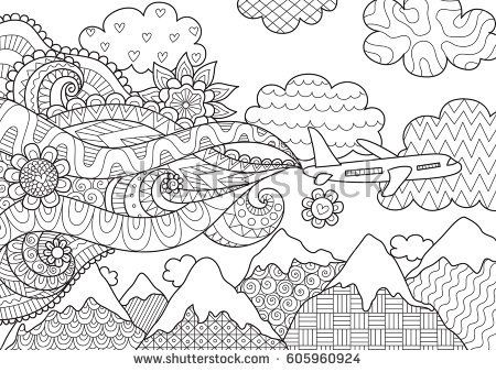 Zendoodle Abstract Airplane Flying Over Beautiful Mountain For Banneradult Coloring Book Pages And Design
