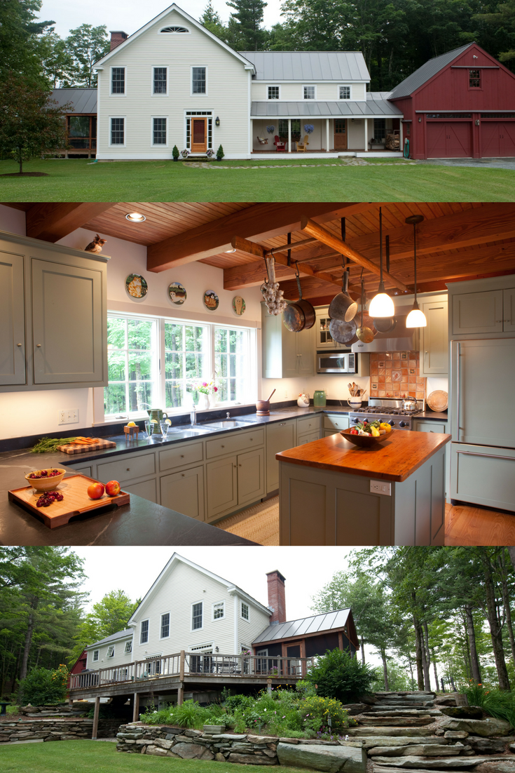 Beautiful post and beam farmhouse with a gorgeous post and beam kitchen as the heart of the home. Visit to see more. #farmhousestyle