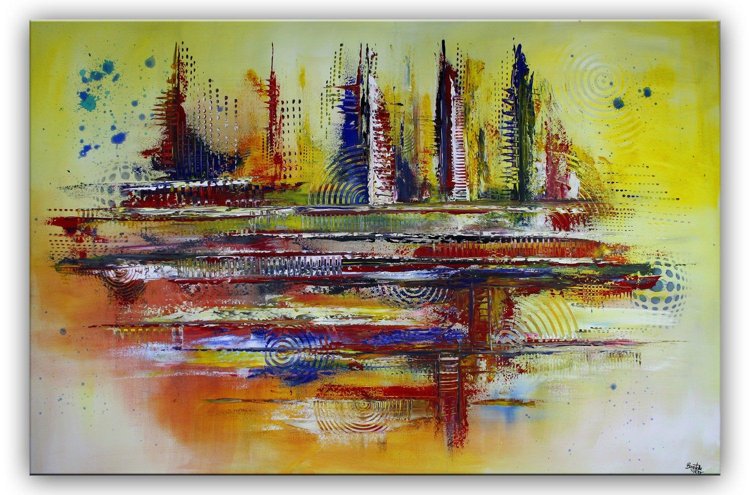burgstaller orlando xxl abstract painting yellow colorful 90x130 modern mural hand painted acrylic buy pictures of art online poster design moderne künstler 2019 malerei