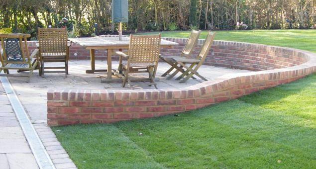 Some Of The Slope Was Taken Out Of The Lawns By Building A Retaining Wall  Around