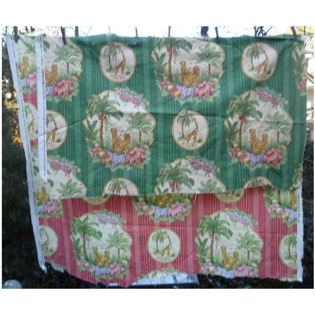 Jungle Flowers  Giraffes and Cheetahs Pink and Green Decorator Fabrics