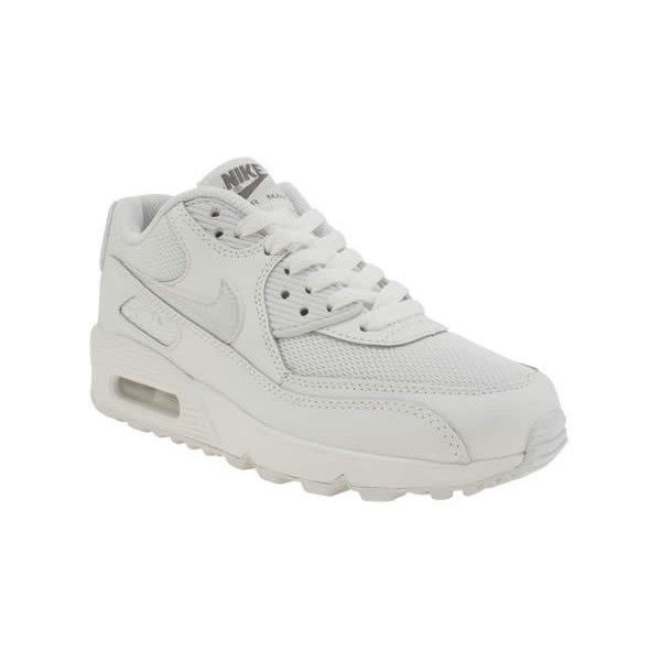 Nike White Air Max 90 Mesh Unisex Youth (€78) ❤ liked on Polyvore