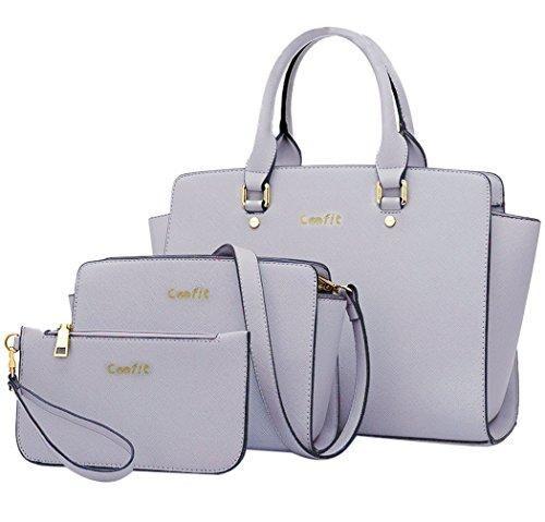 1ed5c8f8 Comprar Ofertas de Coofit Bolsos Mujer de Moda Mano PU Cuero Bolsos y  Carteras 3 Piezas (gris) barato. ¡Mira las ofertas!