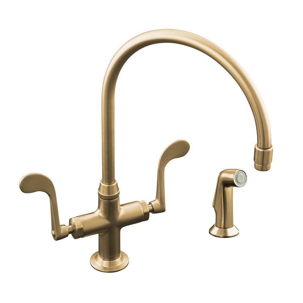 KOHLER Essex 2 Or 4 Hole 2 Handle Kitchen Faucet In Vibrant Brushed Bronze