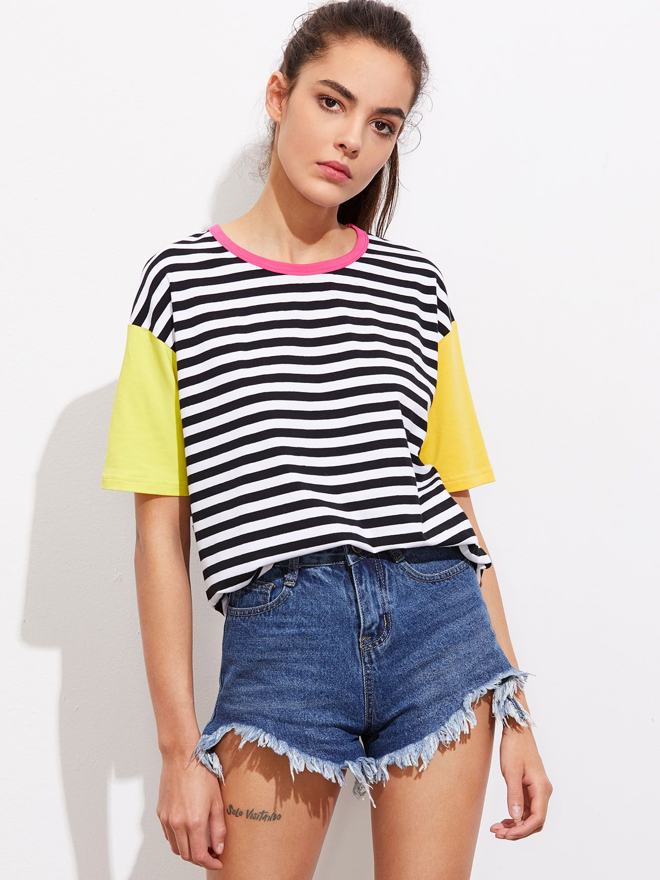 0f9c12dcd5 Shop Contrast Neck And Sleeve Striped Tee online. SheIn offers Contrast  Neck And Sleeve Striped Tee & more to fit your fashionable needs.