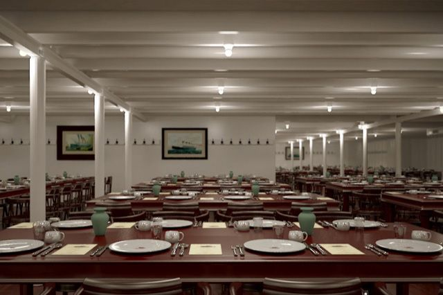 a computer generated image of the third class dining room aboard