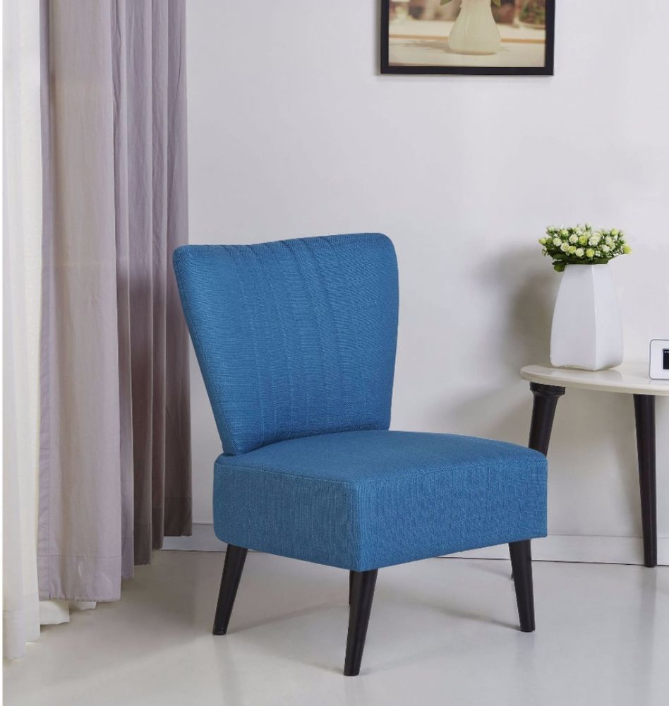 Fontana Blue Elegant Modern Armless Accent Chair Living Room Furniture  Decor #livingroom #furniture #