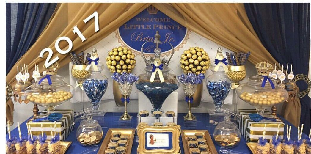 Royal Prince Baby Shower Dessert Table And Decor Instagram Leavittome Events With Images Baby Shower Candy Table Prince Baby Shower Theme Baby Shower Dessert Table