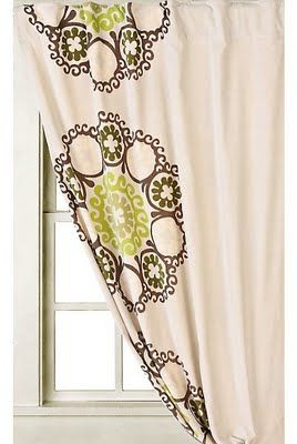 Lime Green Brown Curtain Zilla Chocolate Kitchen Curtains D
