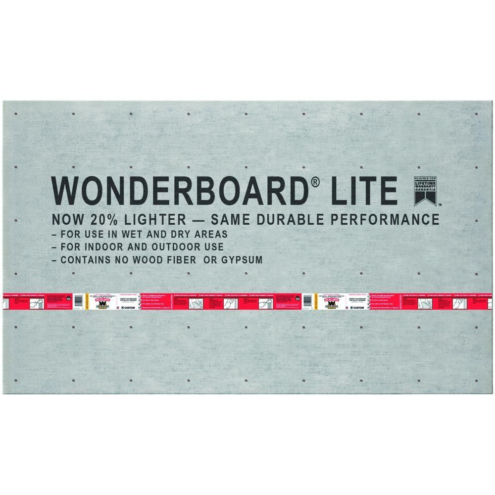 Custom Building Products WonderBoard Lite 5 ft. x 3 ft. x 7/16 in ...