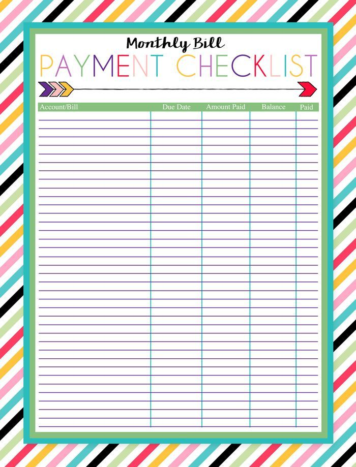 Free Printable Monthly Bill Payment Checklist Free printable - Bill Organizer