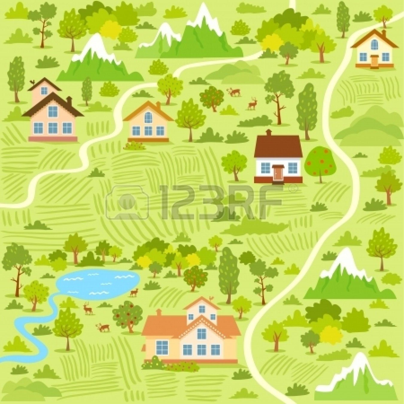 Illustration Background Of A Map Village With Houses Village Map Illustrated Map Map Vector