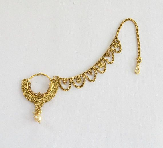 df78b2f8a1b37 Gold Nose Ring Chain Hoop/ Indian Bridal Nose Nath Hoop/Nath For Non ...