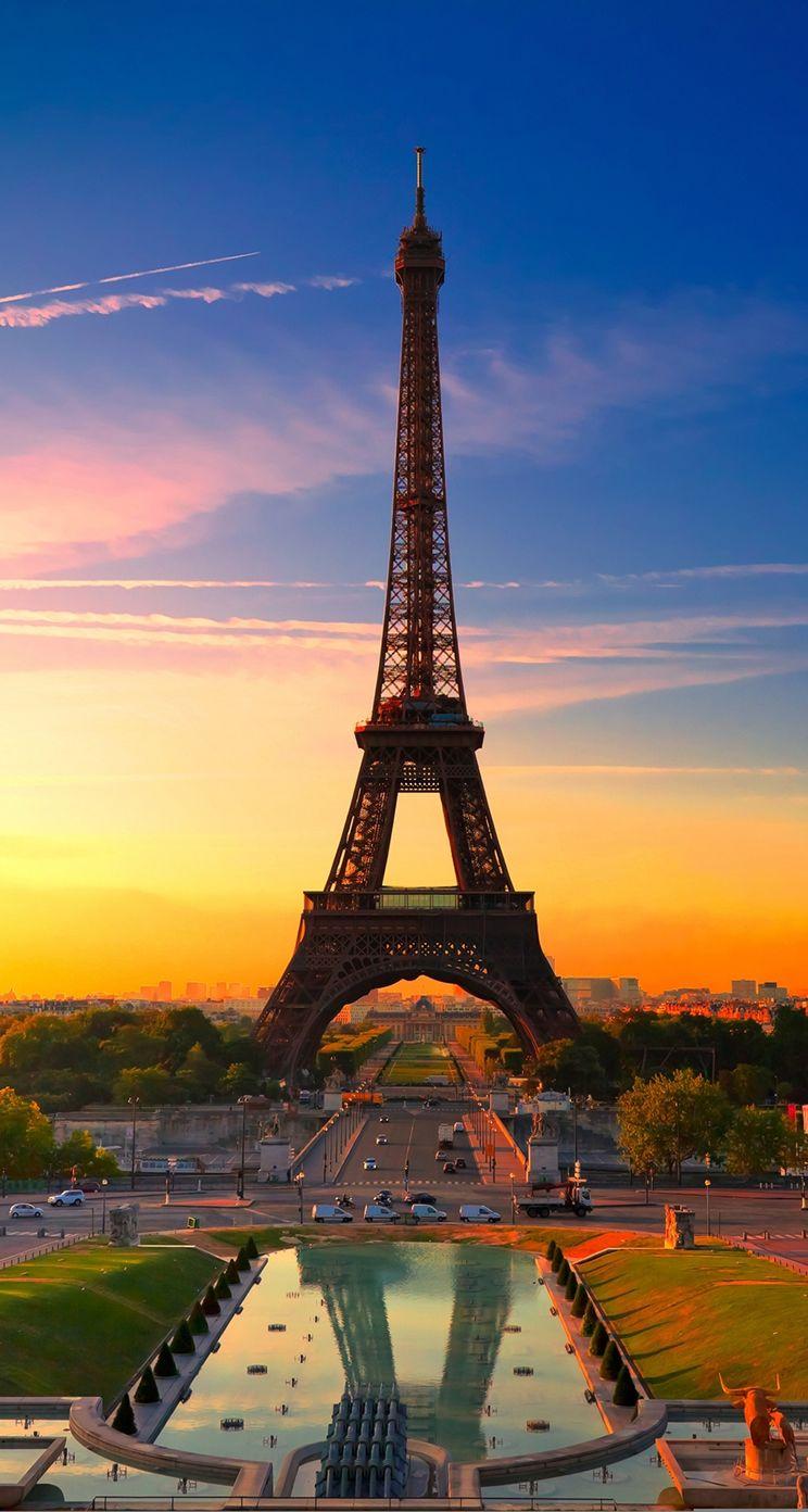 Nature Sunset Eiffel Tower Iphone Wallpaper Wonderful