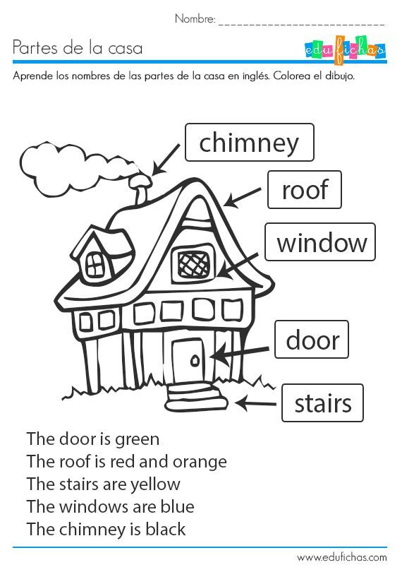 Ficha educativa coloreable para aprender las partes de la casa en ...