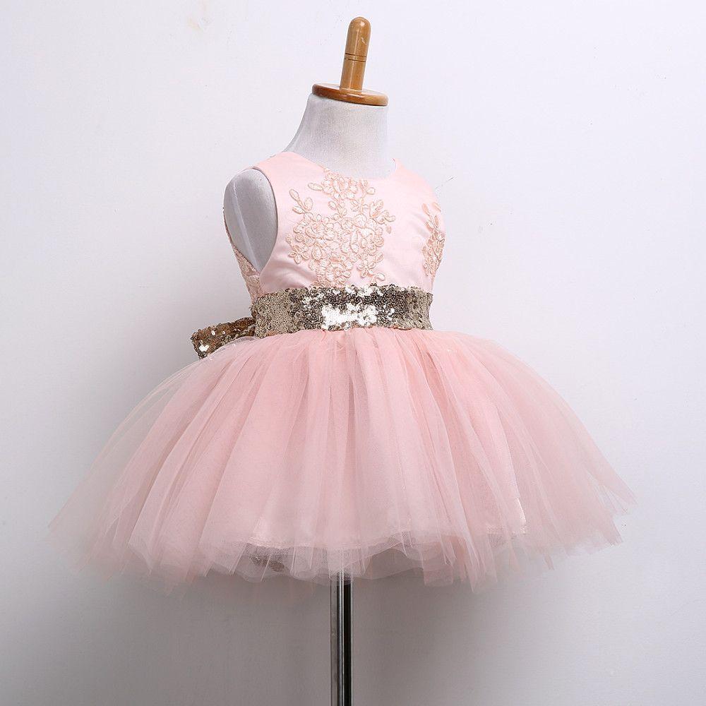 Blush Gold Sequined Bow Tutu Dress Girls Big Sequin Bow Dress Pink