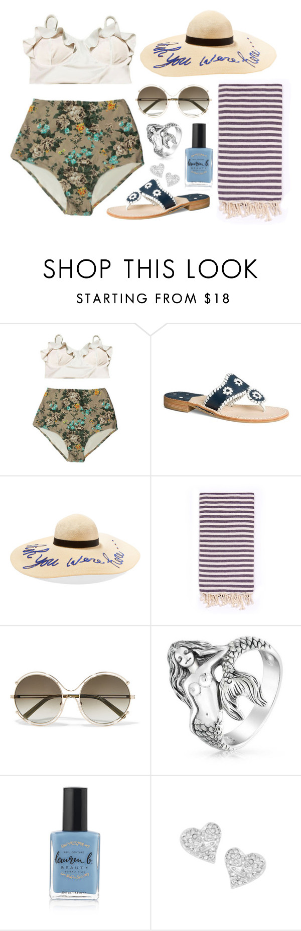 """""""Vintage Beach Babe"""" by bekanator ❤ liked on Polyvore featuring Jack Rogers, Eugenia Kim, Turkish-T, Chloé, Bling Jewelry, Lauren B. Beauty, Vivienne Westwood, vintage, Summer and beach"""