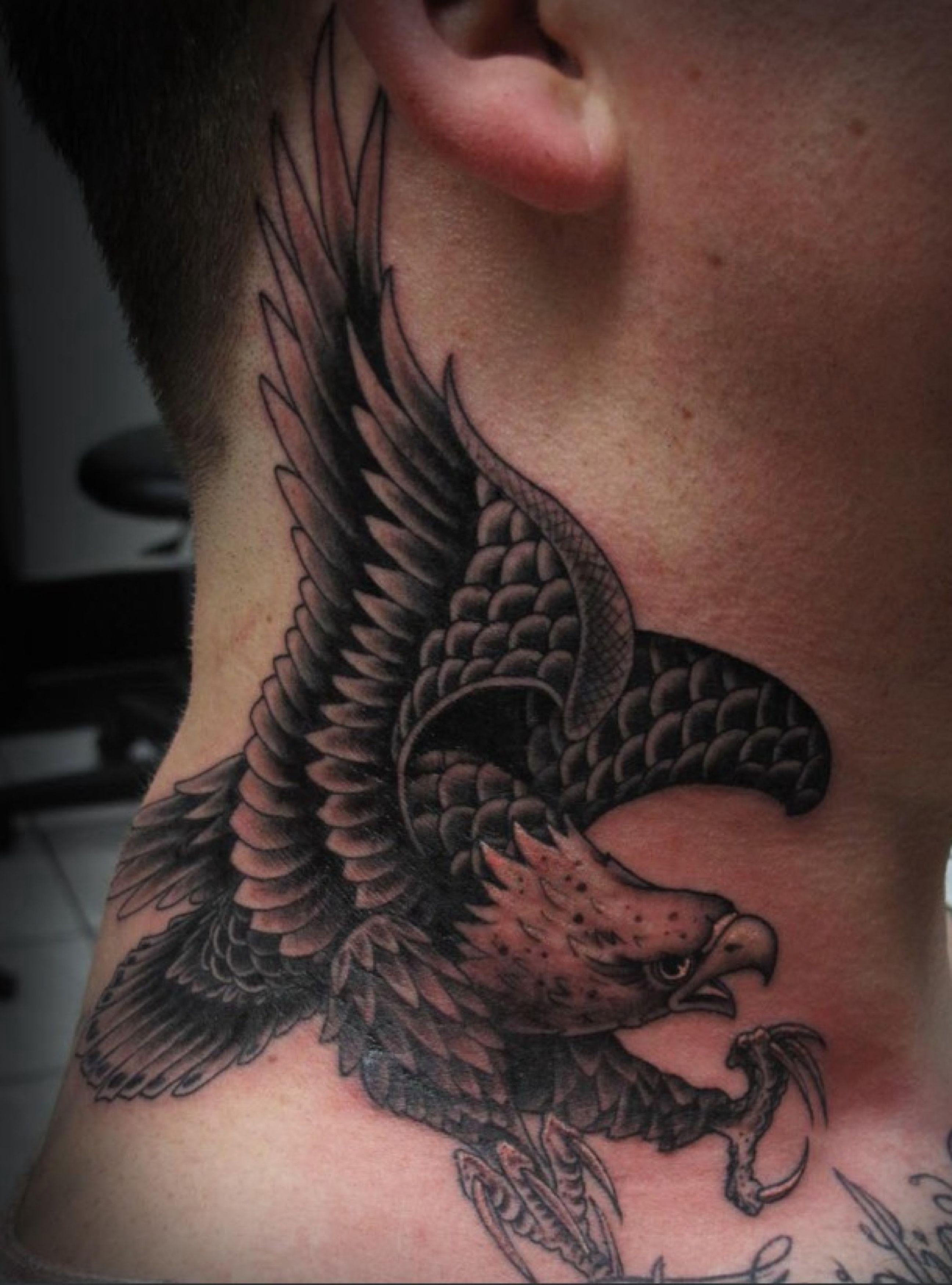 Tim Hendricks Inked Magazine Eagle Neck Tattoo Best Neck Tattoos Eagle Tattoo