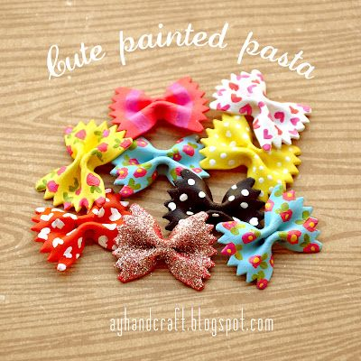 Painting bow tie pasta for crafts.  Cute!