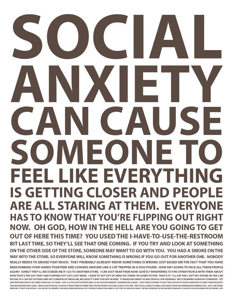 The feelings people who suffer with social anxiety go through. The typography has been arranged well and I like how it enforces the message.