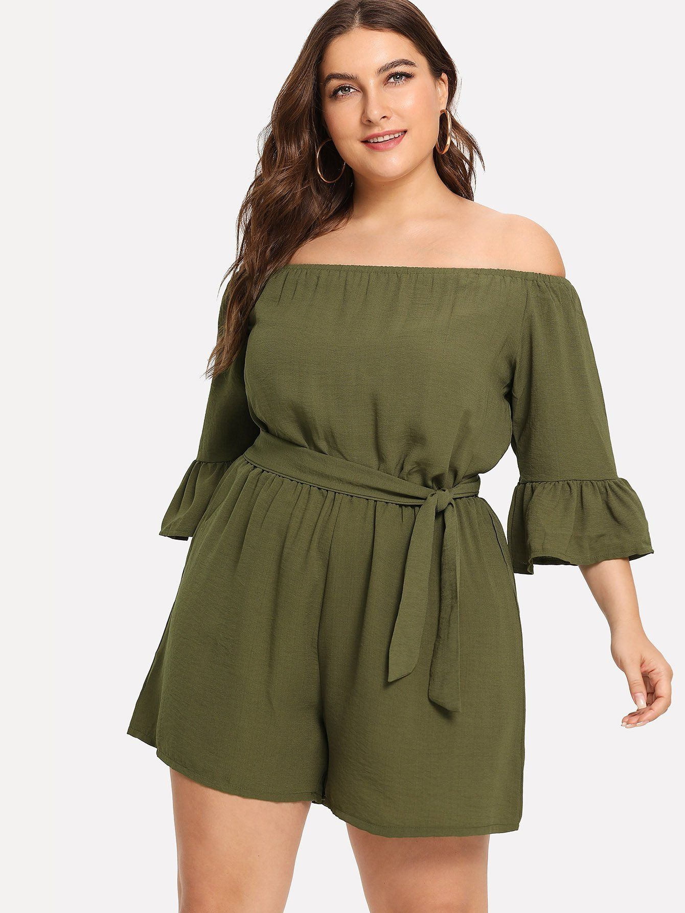 496abc3c50b Plus Off The Shoulder Fluted Sleeve Belted Jumpsuit in 2018 ...