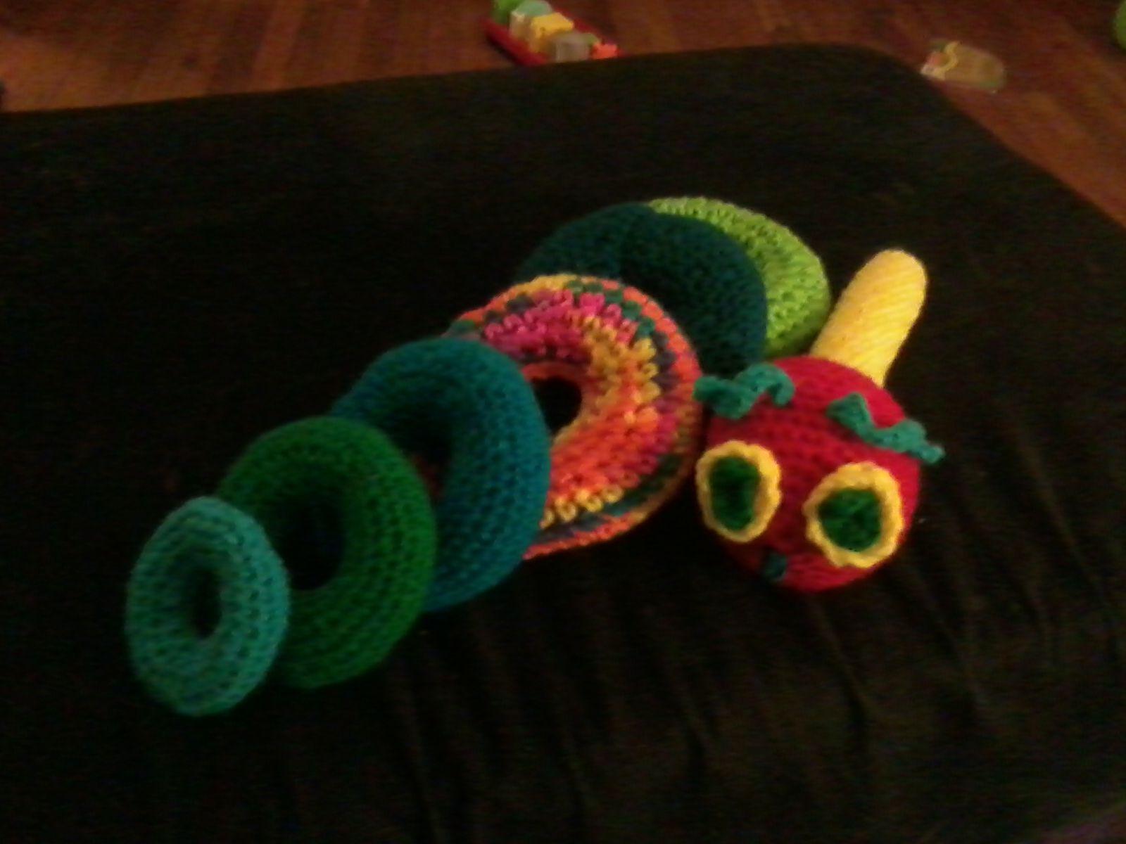 Amigurumi Caterpillar : Very hungry caterpillar stacking toy that i made #amigurumi
