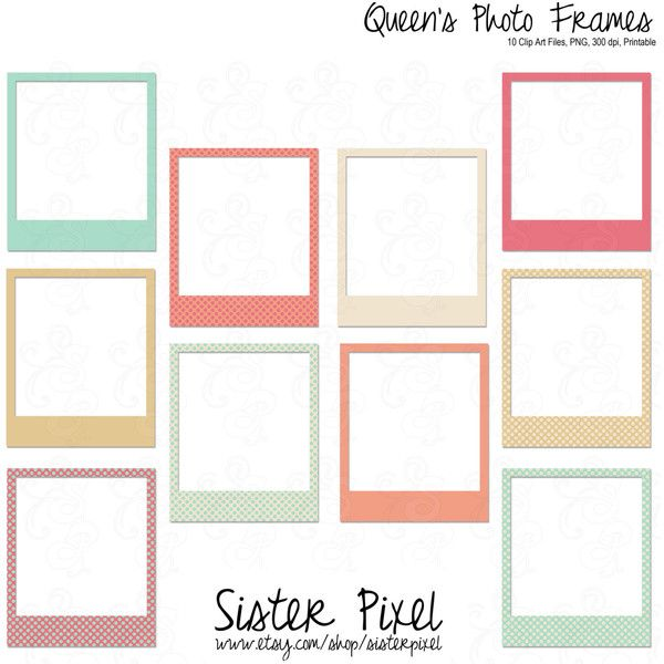 Clip Art Photo Frames in Blues, Pinks, Creams Printable, .PNG ($3.9 ...
