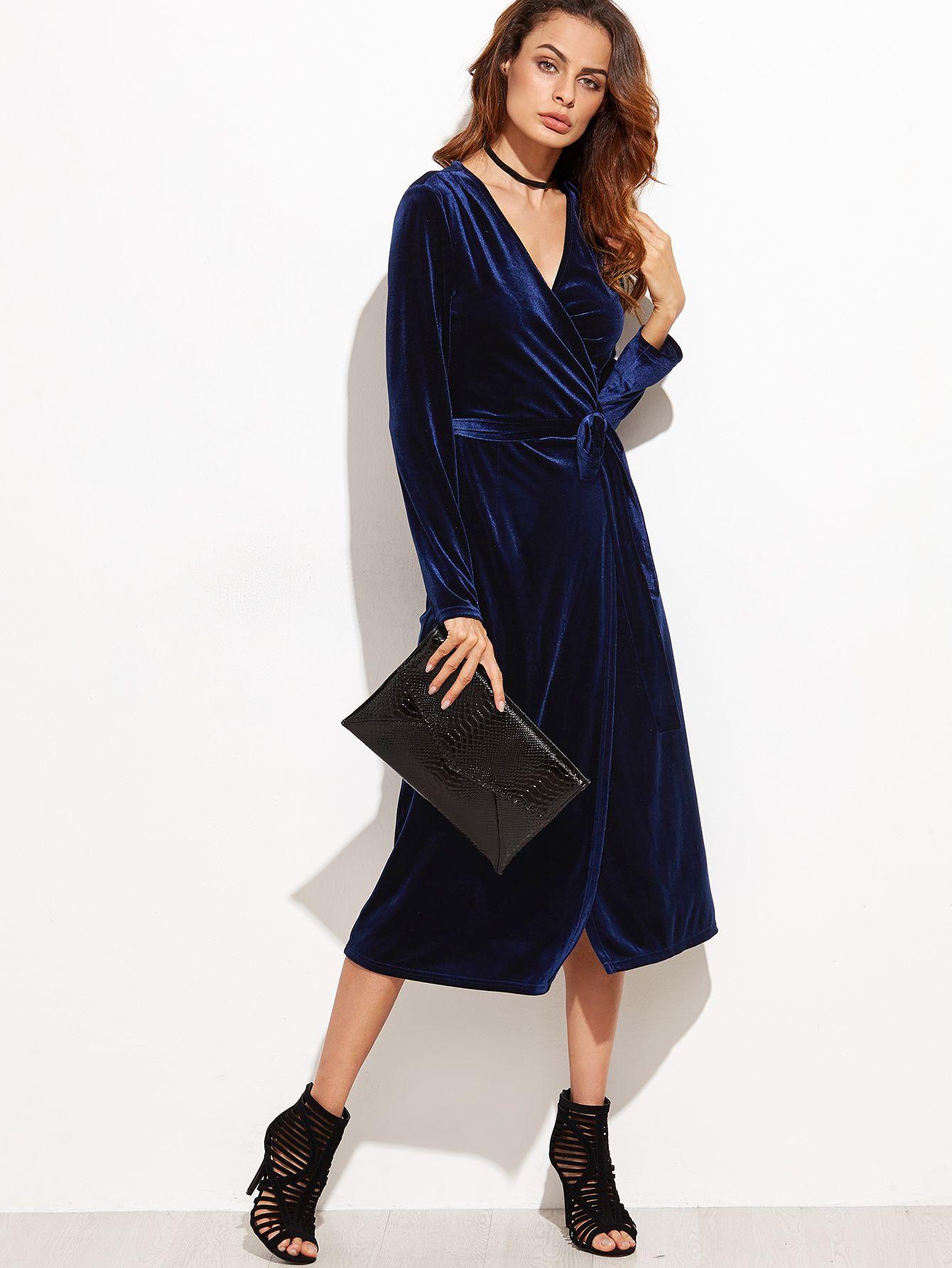 Shop navy surplice front velvet wrap dress online shein offers navy surplice front velvet wrap - Shein damenmode ...
