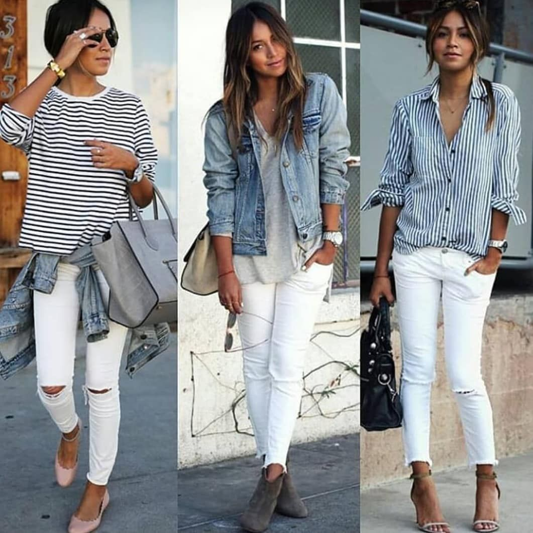 Photo of Image may contain: 3 people, people standing and stripes #jeanjacketoutfits – be …