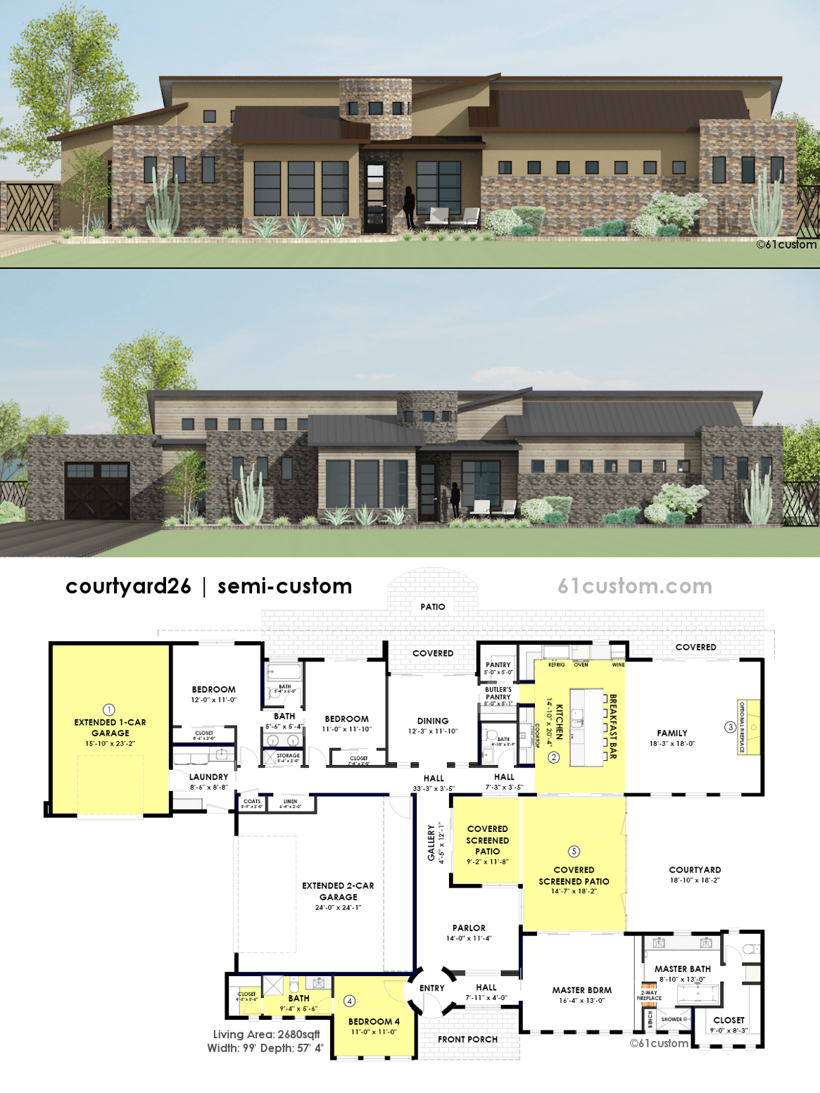 Contemporary Side Courtyard House Plan Contemporary