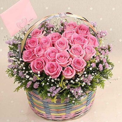 Bunch of Roses in Basket