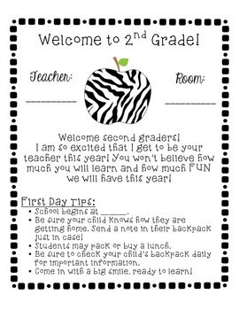 welcome back to school letter to parents zebra themed school year starter pack 2nd grade starters school