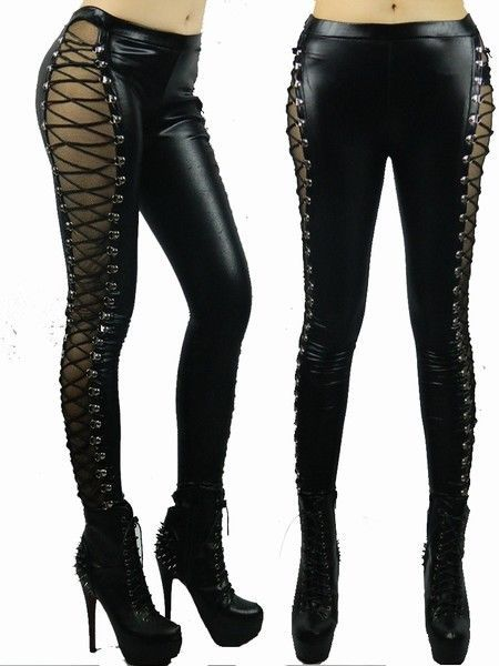 242089fa7e620e Womens Sexy PVC Skinny Trousers Leggings Lace Up Goth Black Wetlook Shiny  UK 32 in Clothes, Shoes & Accessories, Women's Clothing, Leggings | eBay