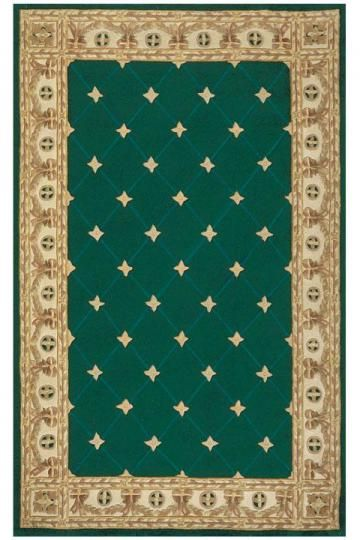 French Traditional Fleur-de-lis Rug in Emerald Green with Gold/Ivory Border