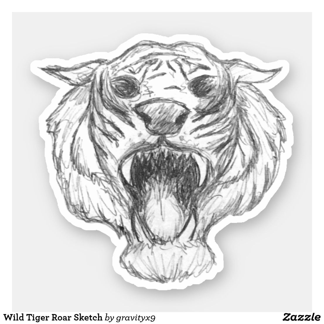 Wild Tiger Roar Sketch Sticker |  * Wild Tiger Roar Sketch Sticker  by at * Cutout stickers are available in several size options.* Choose size and use for DIY projects, projects and scrap booking ideas, too! * contour stickers * stickers laptop ideas * cut out stickers * stickers for school * stickers for crafting * stickers for kids *