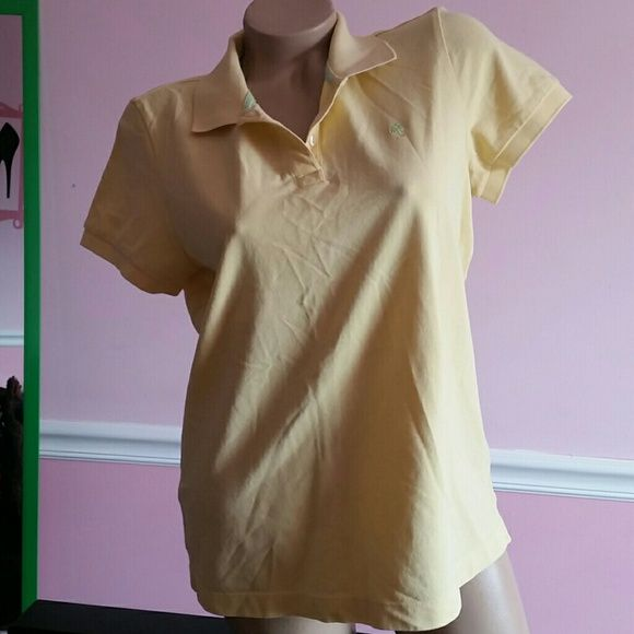 Lilly Pulitzer sz large Soft Yellow 100% prima cotton Resort fit Sort sleeve Polo golf shirt Lilly Pulitzer Tops Tees - Short Sleeve